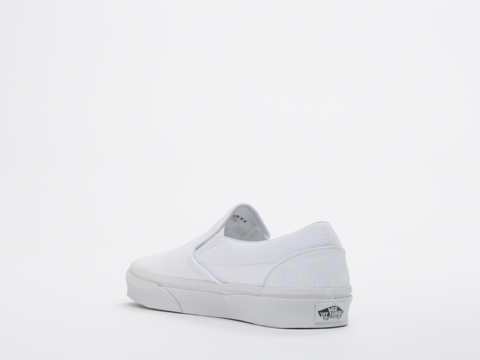 Vans In Checkerboard True White Classic Slip On