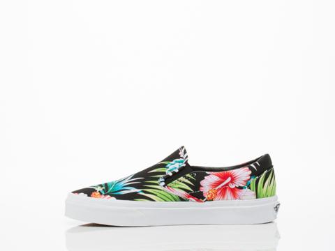 Vans In Hawaiian Floral Black Classic Slip On