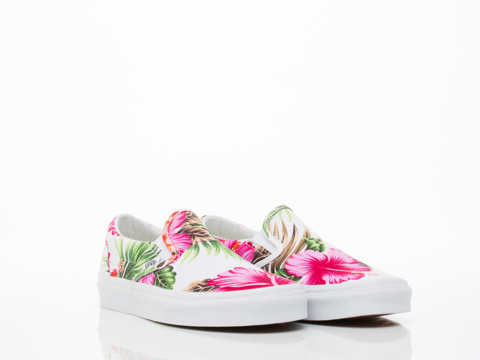 Vans In Hawaiian Floral White Classic Slip On