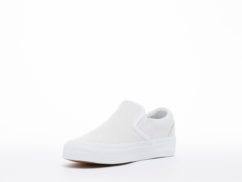 Vans In White Perf Leather Classic Slip On