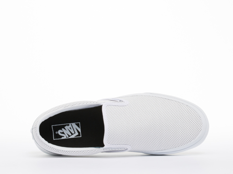 Vans In White Perf Leather Classic Slip On Mens