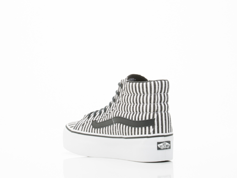 Vans In Black Hickory Stripes SK8 Hi Platform