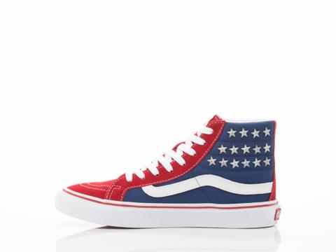 Vans In Studded Stars Red Blue SK8 Hi Slim