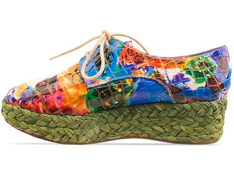 Veletto In Green Multi Espadrille Lace Up