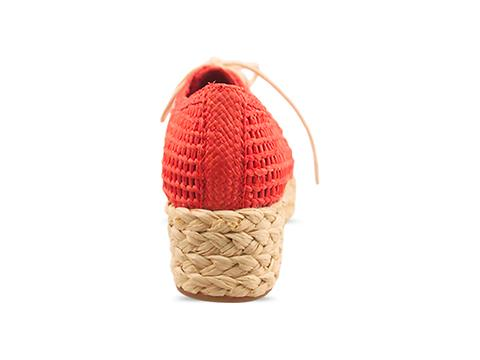Veletto In Red Natural Combo Espadrille Lace Up