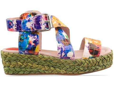 Veletto In Green Multi Espadrille Sandal