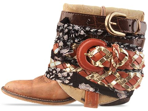 Vintage In Tan Multi LUXURY JONES Tan Belt and Fabric Boot Size 6