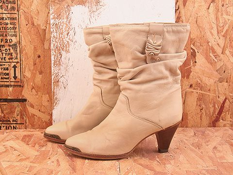 Vintage In Ivory NIGHT RIDER 15 Zodiac Ivory Slouch Boot Size 8.5