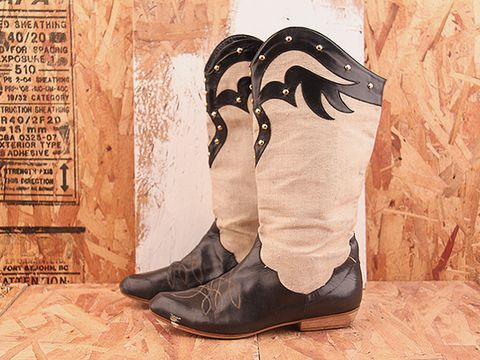Vintage In Black Canvas NIGHT RIDER 16 Canvas and Black Leather Boot with Studs Size 6