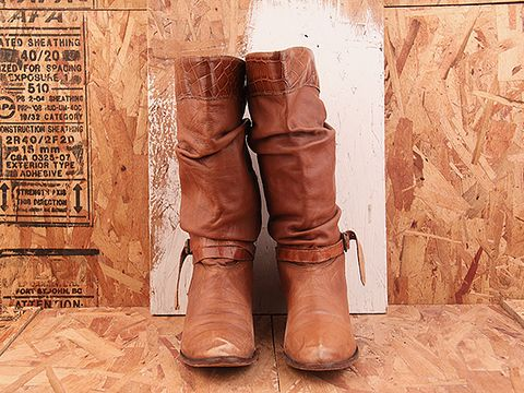 Vintage In Whiskey NIGHT RIDER 17 Brown Slouchy Boot with Wrap Around Ankle Detail Size 6.5