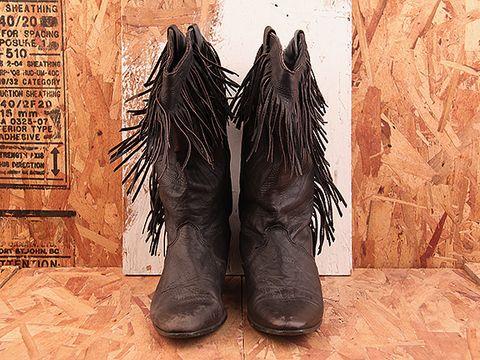 Vintage In Black NIGHT RIDER 19 Black Fringe Boot Size 7.5