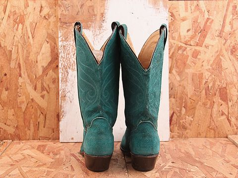 Vintage In Turquiose NIGHT RIDER 22 Turquoise Cowgirl Boot Size 6