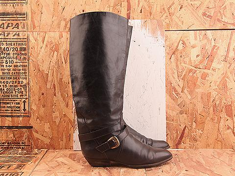 Vintage In Black NIGHT RIDER 30 Tall Black Flat Harness Boot Size 8.5