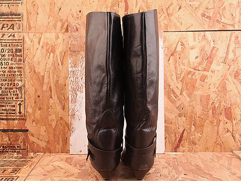 Vintage In Black NIGHT RIDER 30 Tall Black Flat Harness Boot Size 8.5