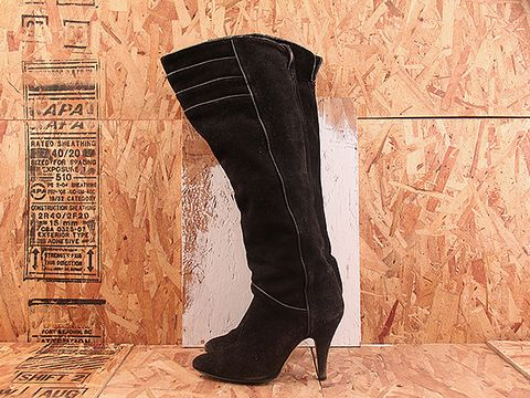 Vintage In Black NIGHT RIDER 32 Over the Knee Black Suede Boot Size 7.5