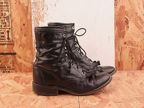 Vintage In Black NIGHT RIDER 4 Black Kiltie Lace Up Boot Size 6.5