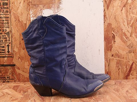 Vintage In Electric Blue NIGHT RIDER 5 Bright Blue Western Style Boots Size 10