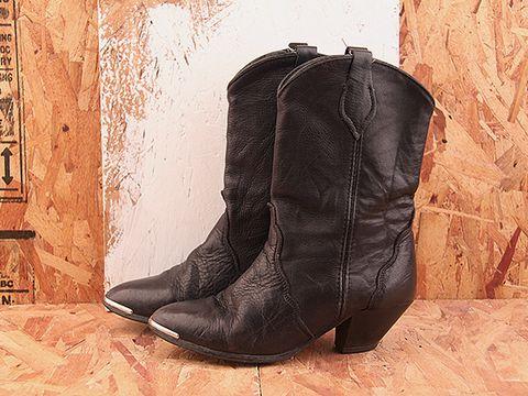 Vintage In Black NIGHT RIDER 6 Black Metal Tip Western Boot Size 7