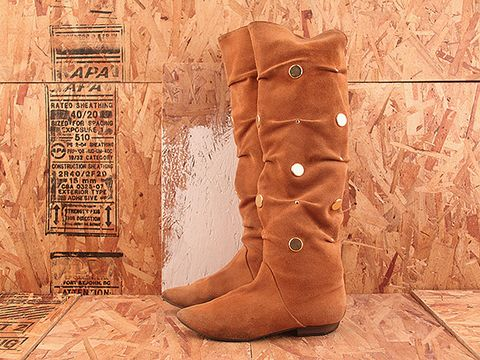 Vintage In Tan NIGHT RIDER 8 Tan Suede Tall Boot with Gold Disc Detailing Size 8.5