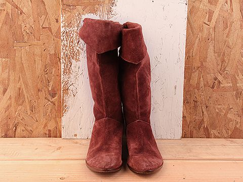 Vintage In Red No. 104  Maroon Suede Flat Boot Size 5.5