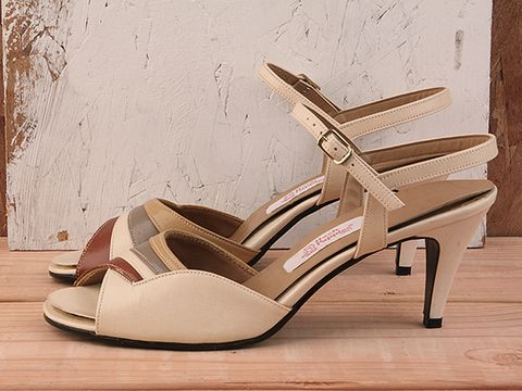 Vintage In Cream No. 11 Tri Color 1970s Slingback Heel Size 7.5