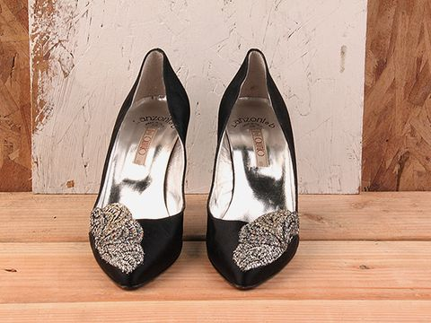 Vintage In Black No. 123 Black Satin Pump With Glitter Size 6.5