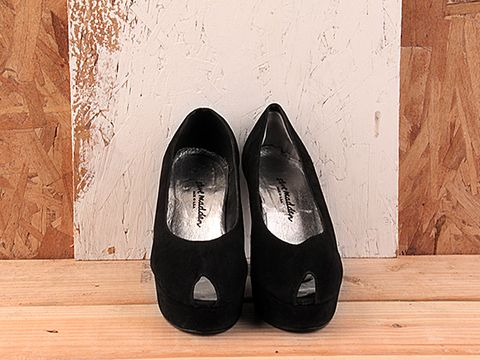 Vintage In Black Suede No. 133 Black Suede Platform Peeptoe Pump Size 7