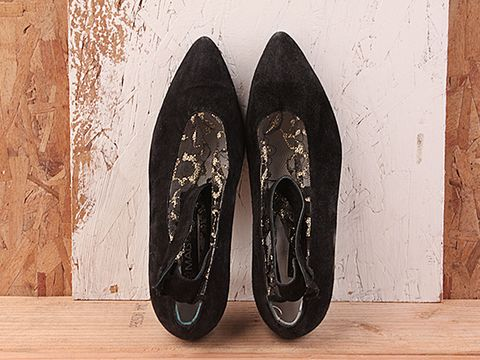 Vintage In Black And Gold No. 137 Black Suede Pump With black and gold Lace Size 5.5