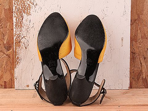 Vintage In Orange And Black No. 138 Orange and Black Leather Peeptoe Size 7
