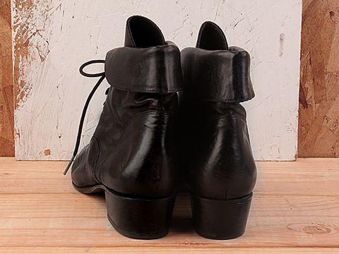 Vintage In Black No. 169 Low Heel Lace Up Bootie Size 7.5