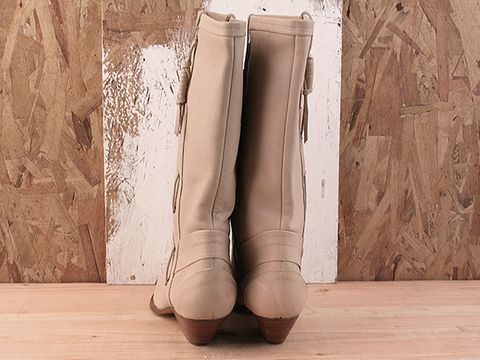 Vintage In Cream No. 17 Street Cowboy Boots 1980s Size 6.5