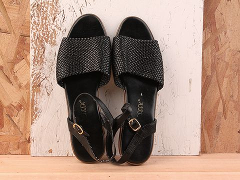 Vintage In Black No. 193 Black Low Wedge Sandal Size 8.5
