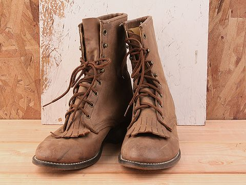 Vintage In Brown No. 2 Flat lace up Laredo Boot Size 8.5