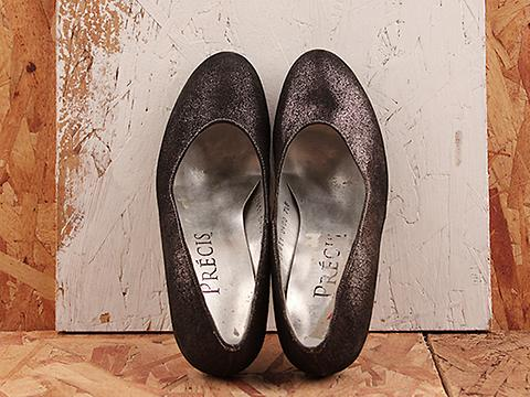 Vintage In Metallic Black No. 202 Silvery Black Shiny Round Toe Pump Size 7.5