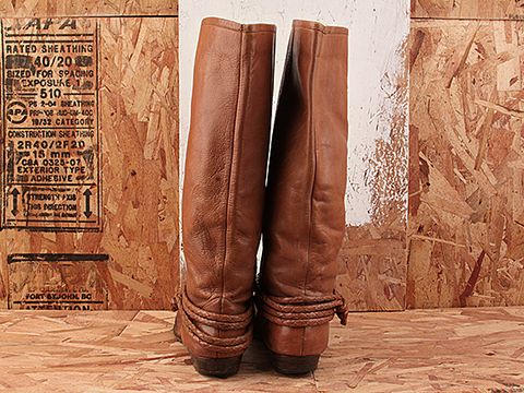 Vintage In Tan No. 205 Tan Leather Flat Boot With Ankle Strap Size 7