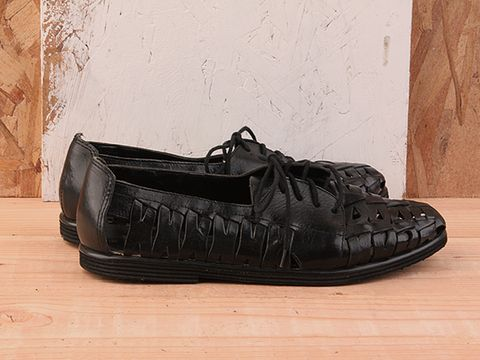 Vintage In Black No. 226 Black Woven Leather Oxford Size 8