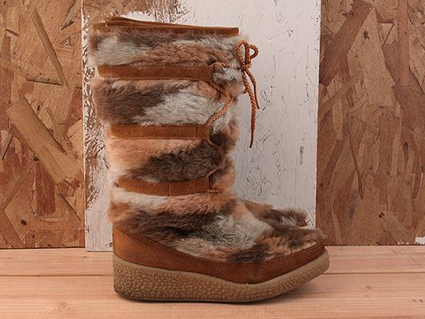 Vintage In Multi No. 234 Calico Furry Boot  Size 6