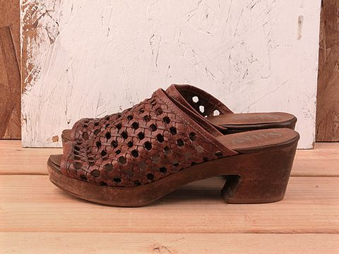Vintage In Brown No. 262 Brown Woven Leather Slipon Clog Size 5.5