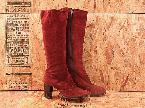 Vintage In Burgundy Suede No. 267 Burgundy Suede Stacket Heel Knee Boot