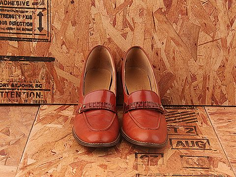 Vintage In Whiskey No. 271 Whiskey Colored Leather Loafer Pump Size 8