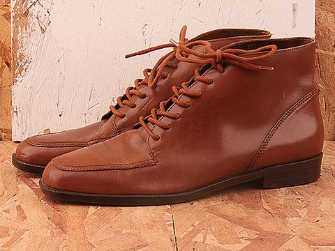 Vintage In Brown No. 280 Brown Leather Ankle Oxford Size 8