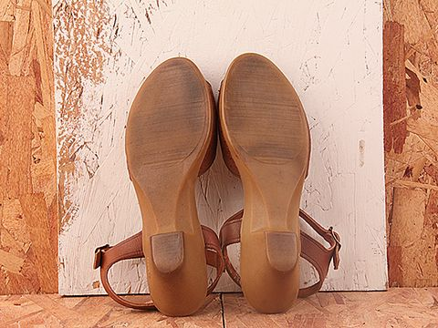 Vintage In Brown No. 301 Reddish Brown Wedge Sandal with Ankle Strap Size 7