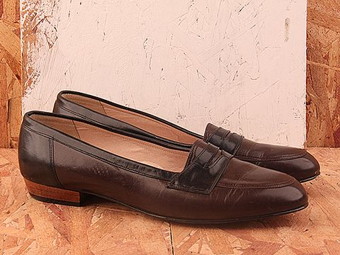 Vintage In Brown Black No. 316 Black and Brown Leather Loafer Size 9.5