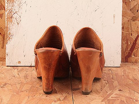 Vintage In Brown No. 349 Brown Wood Wedge Clog Size 7