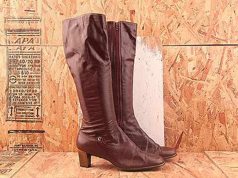 Vintage In Burgundy No. 378 Tall Burgundy Stacked Heel Boot Size 10