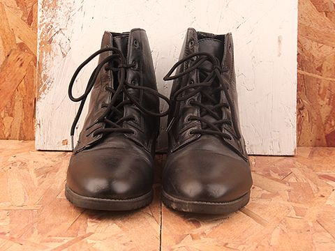Vintage In Black No. 383 Black Lace Up Boot with Buckle Detail Size 8