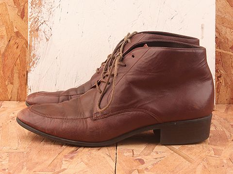 Vintage In Brown No. 386 Brown Distressed Leather Lace Up Boots Size 10