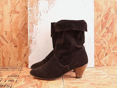 Vintage In Black No. 409 Black Suede Heeled Slouch Boot Size 7