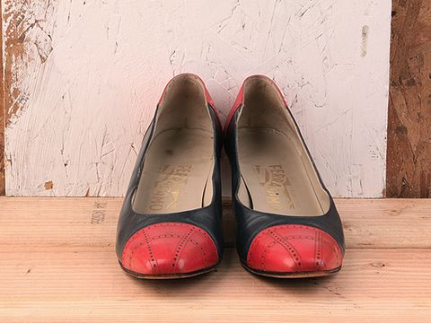 Vintage In Red No. 41 Ferragamo 1970s Americana Heel Size 8