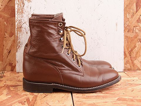 Vintage In Brown No. 411 Brown Lace Up Western Boot Size 6